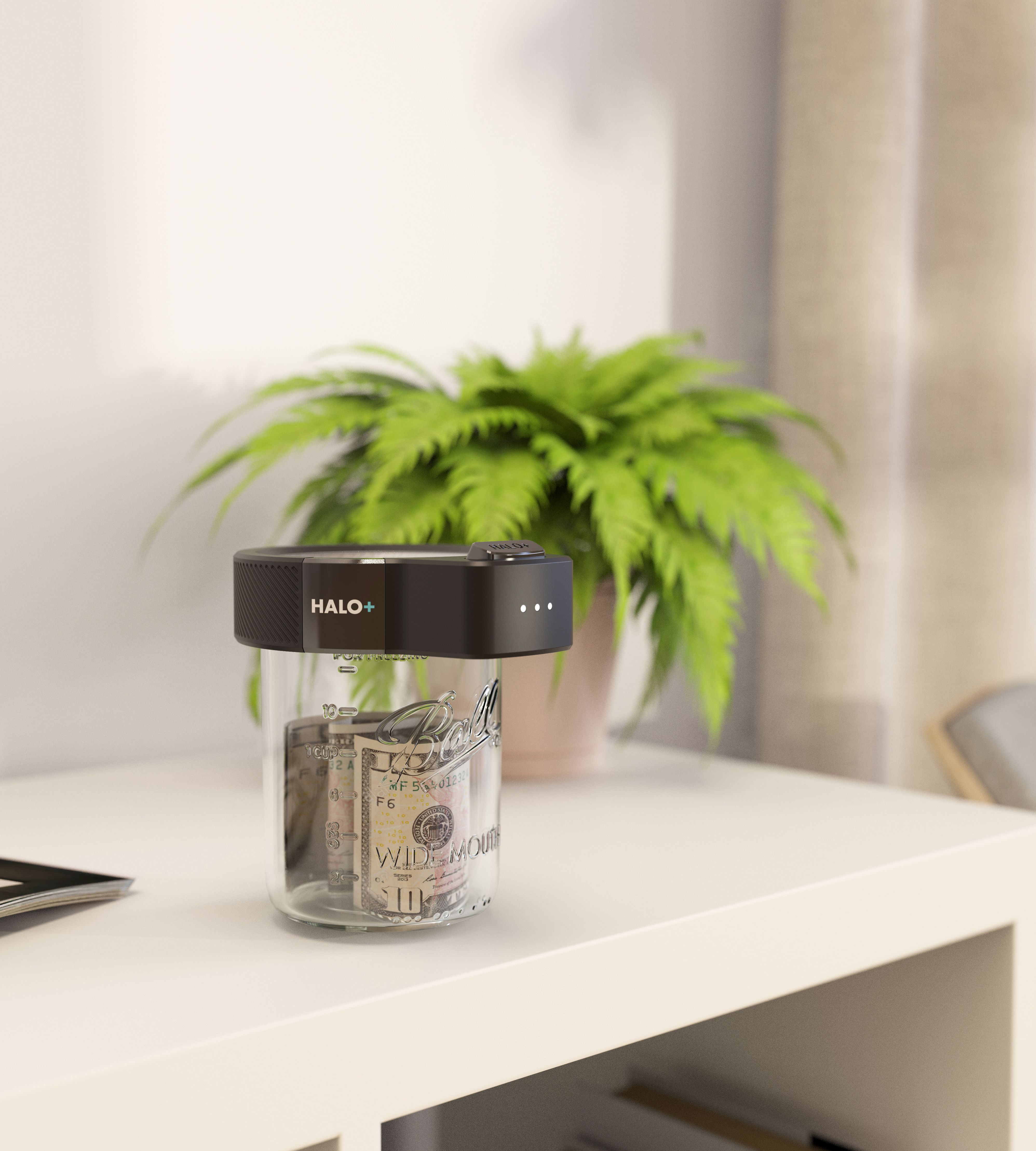 3D CAD Render by Sprout Studios of Varna Tech with Halo+ and mason jar