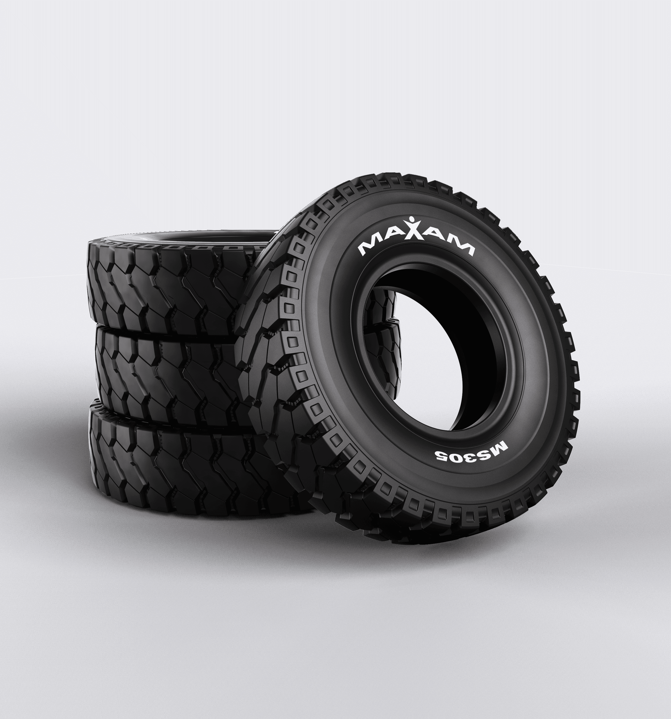 3D CAD Render by Sprout Studios of stacked Maxam tires