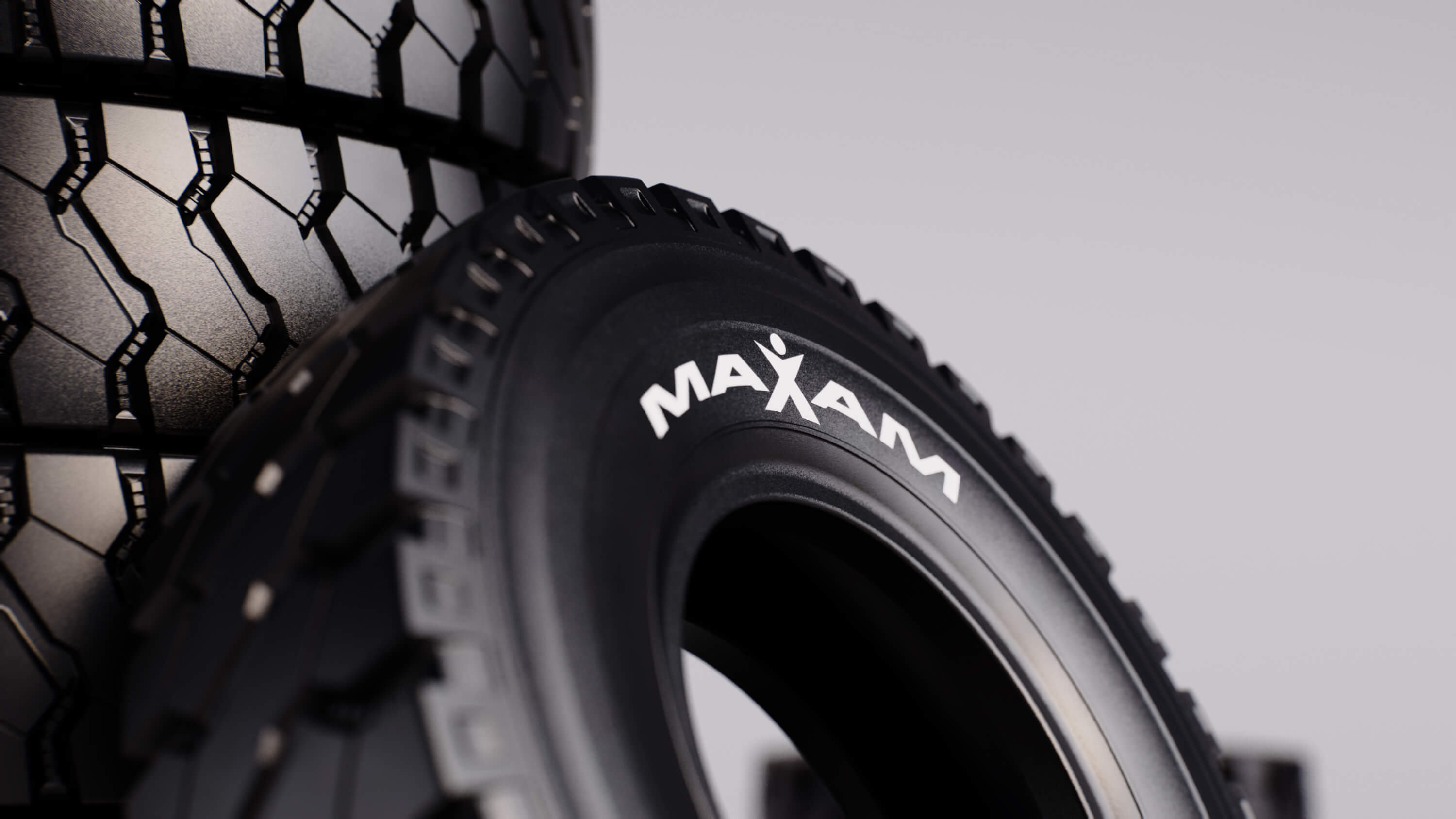 Close up detail 3D CGI Render of stacked Maxam Tires from Sprout Viz
