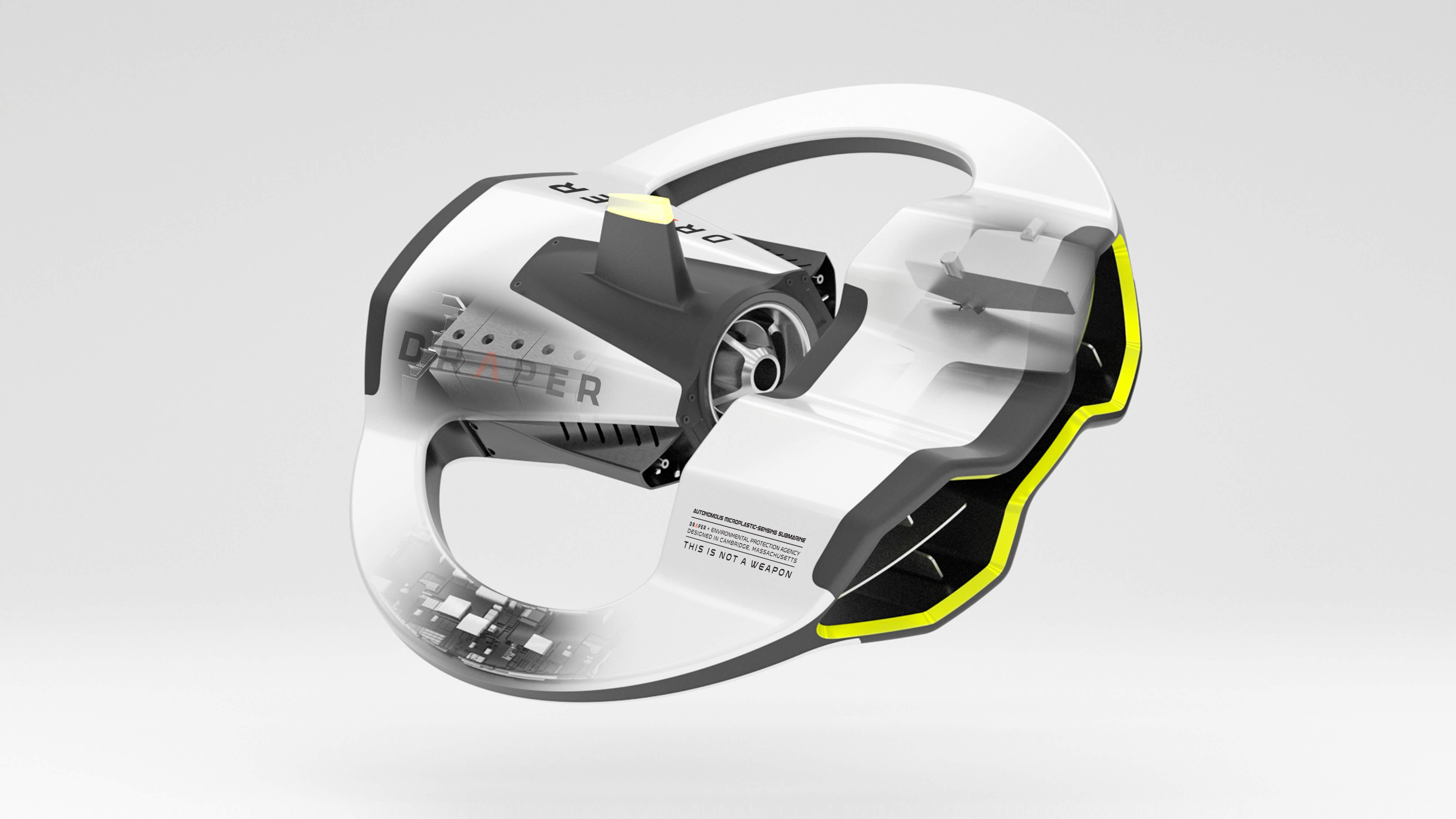 3D CAD Render by Sprout Studios of Draper Autonomous Underwater Vehicle