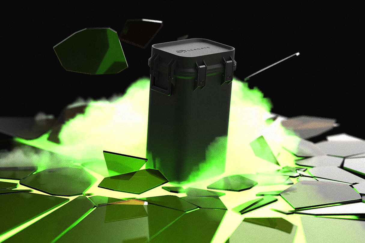 3D CGI Render of Glass Breaking with Green Smoke from Sprout Viz