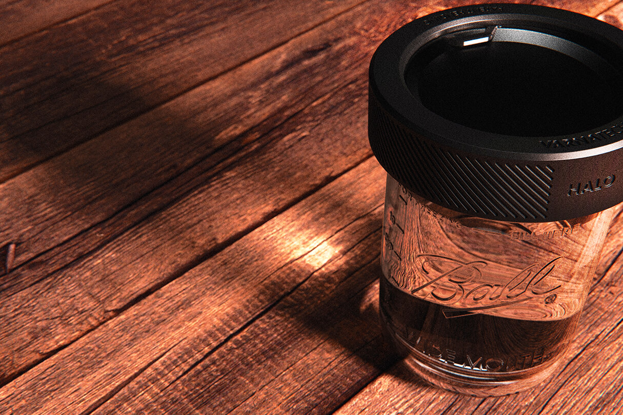3D CGI Render of mason jar on wooden table with shadows and caustics from Sprout Viz