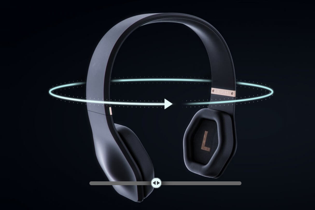 3D CGI Render of blueflame headphones with an overlay of interactive UI graphics from Sprout Viz