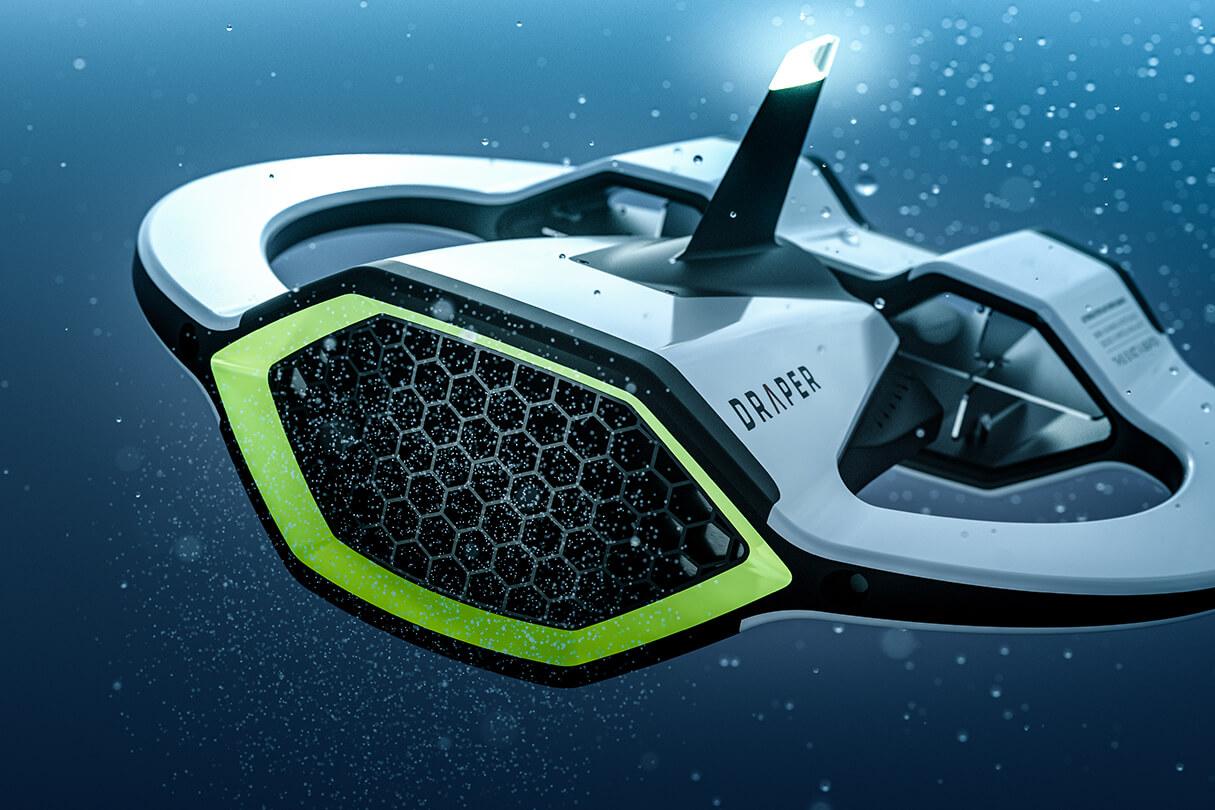 3D CGI Render of Draper's Microplastic-sensing autonomous underwater vehicle from Sprout Viz