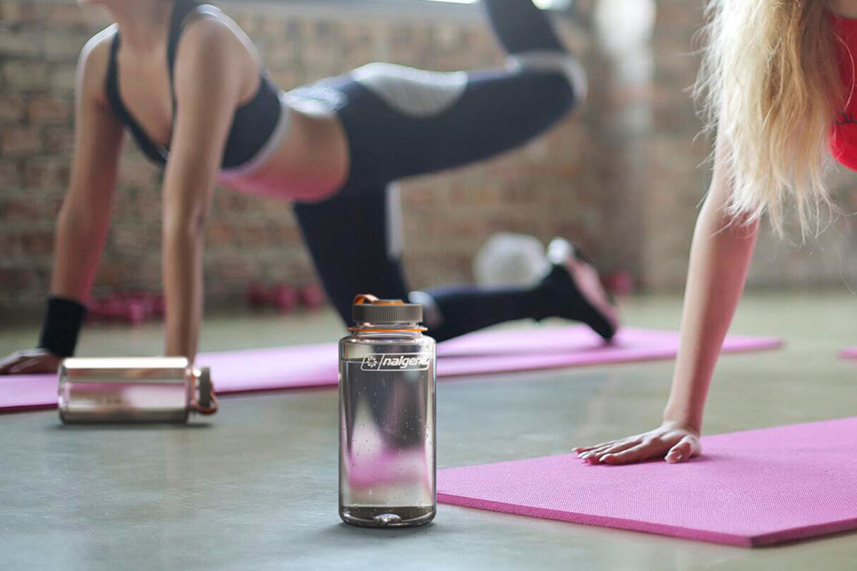 3D CGI in-context Render of a water bottle in a yoga studio from Sprout Viz