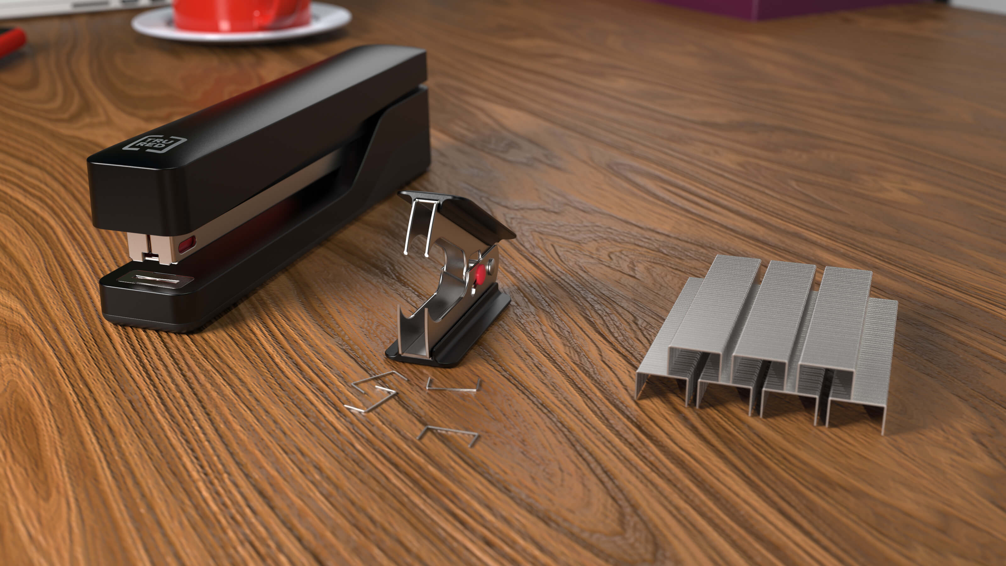 3D CAD Render by Sprout Studios of a stapler and staples
