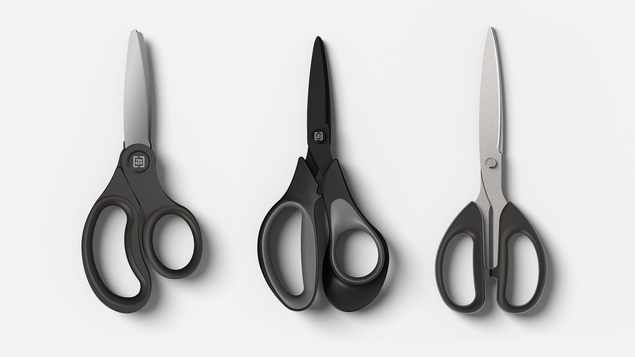 3D CGI Render of three Staples Tru Red scissors on a white background by Sprout Viz