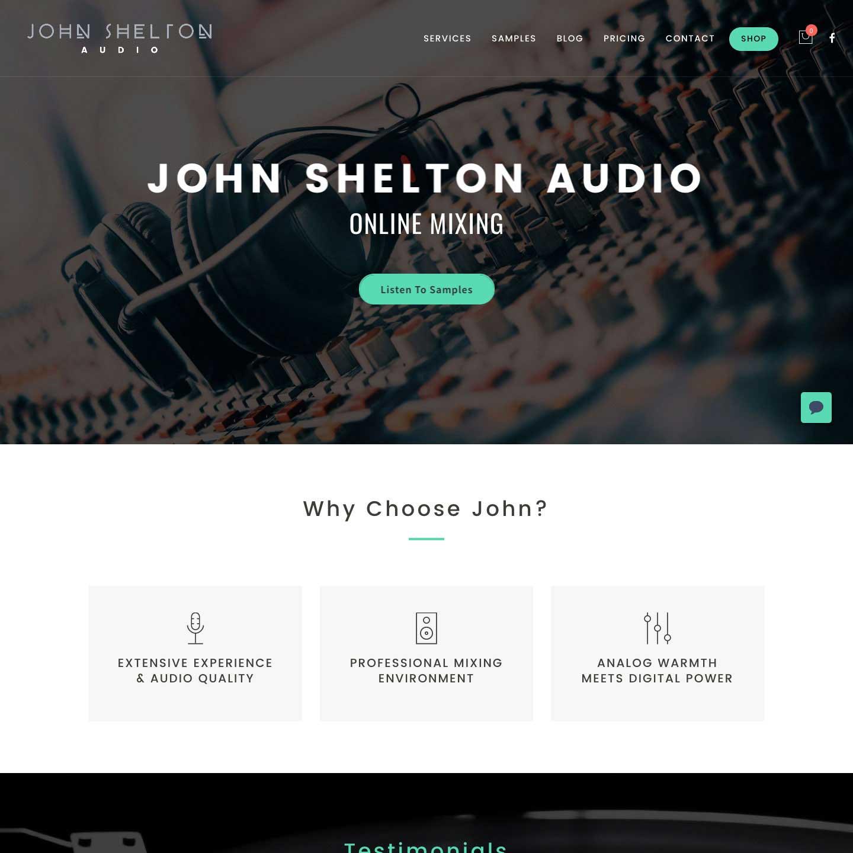 John Shelton Audio Website Screenshot