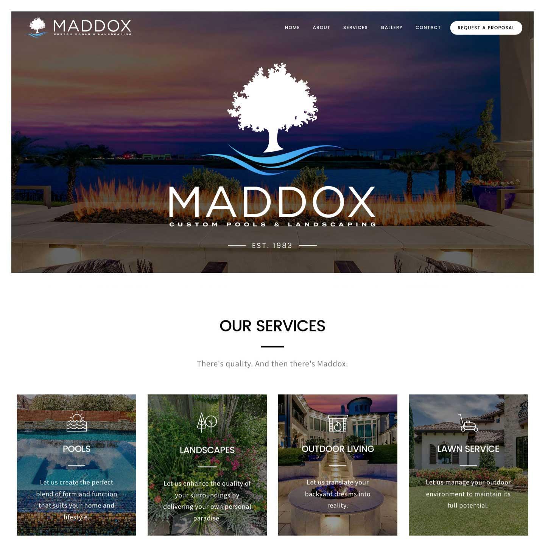Maddox Custom Pools & Landscaping Website Screenshot