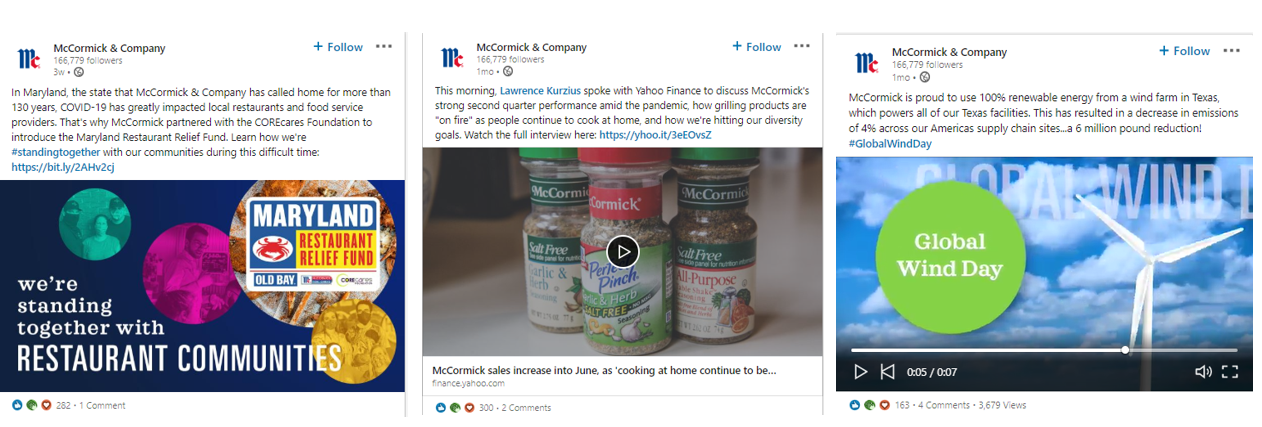 McCormick & Company Thought Leadership on LinkedIn