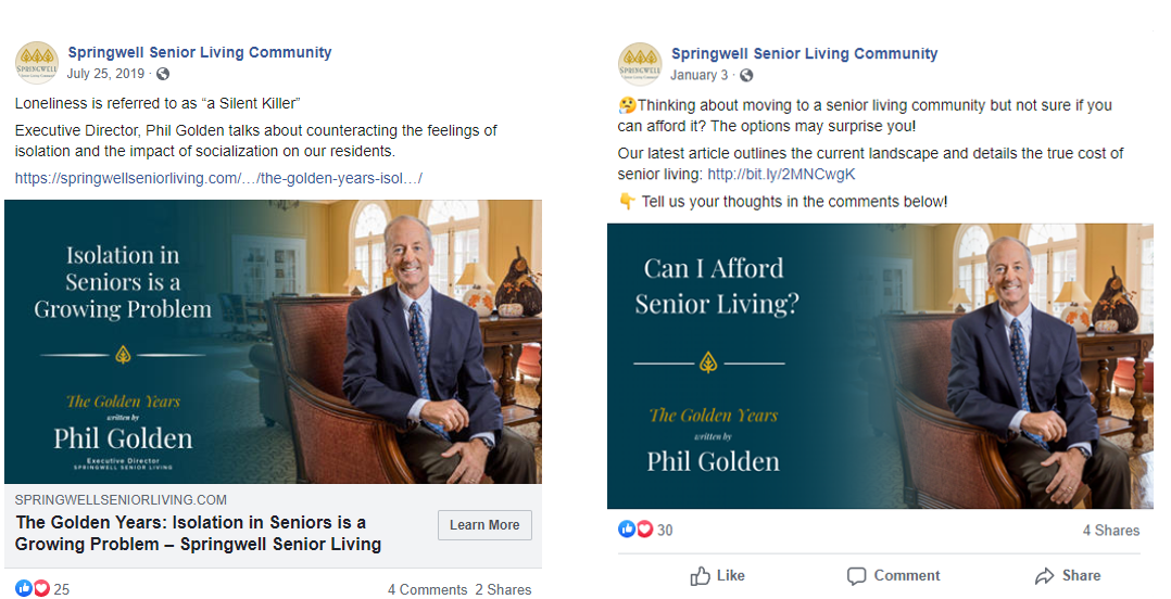 Springwell Senior Living The Golden Years Blog as Social Media Thought Leadership