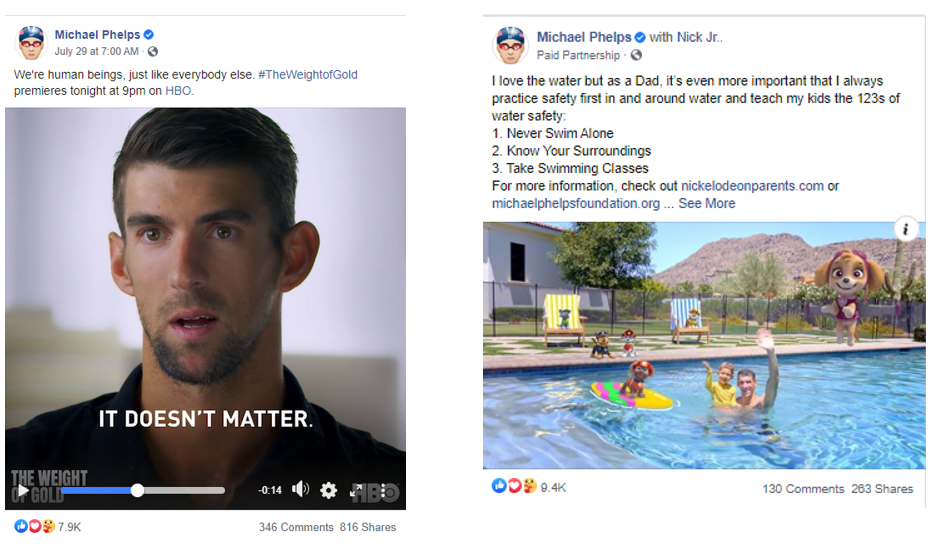 Michael Phelps as social influencer on safe swimming and Olympians
