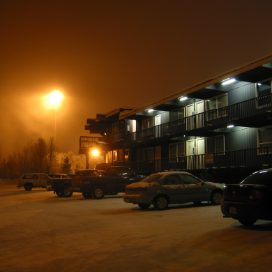 Anchorage Homes at Night in the Snow