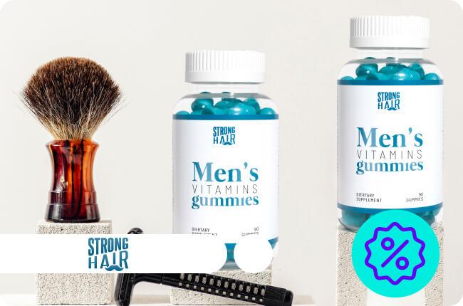 Vitaminas en distintos formatos para un pelo y barba fuerte y frondosa.