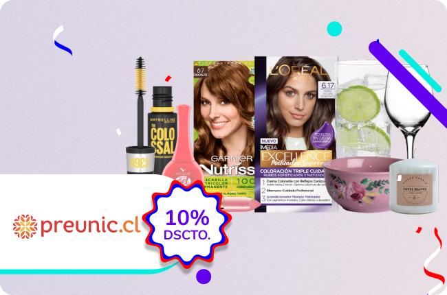 Celebra septiembre con mas color y aprovecha el 10% de dscto. en maquillaje, coloración y hogar comprando en Preunic.cl con MACH.