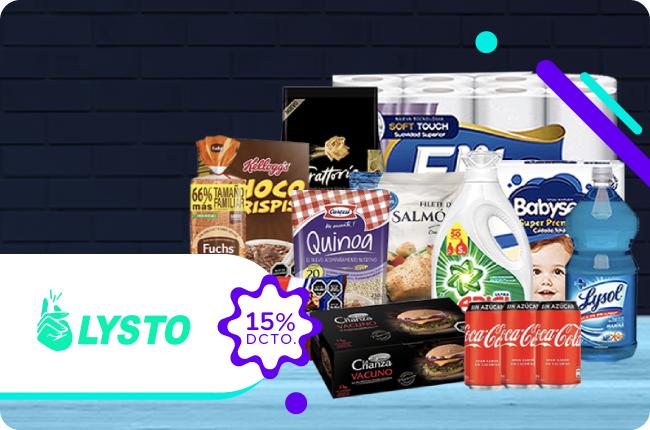 Deja todo listo comprando con un 15% de dscto. lo que necesites en el sitio web de LYSTO pagando con MACH.