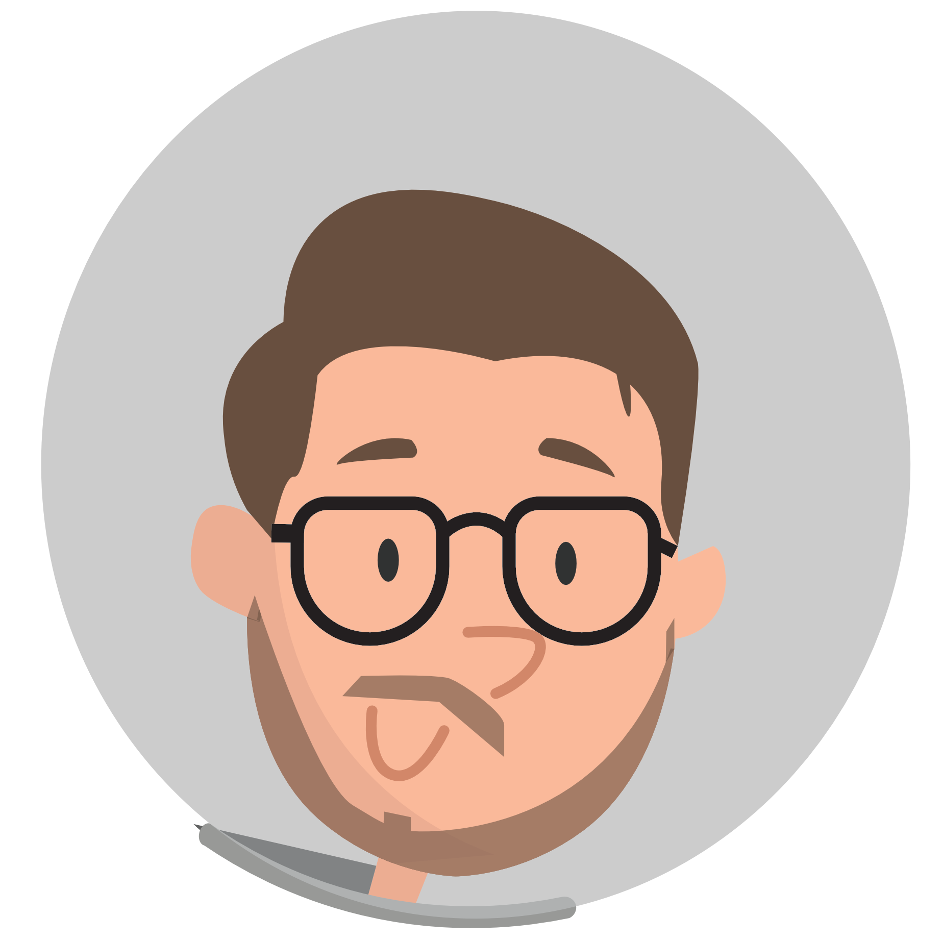 Picture of a man with a beard wearing glasses