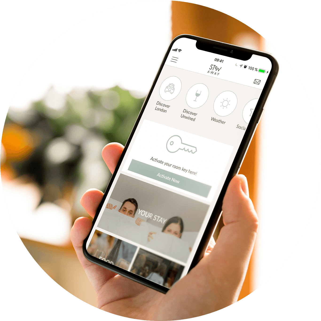Screen shot of the Stow-Away App on a black iPhone 10 shaped phone. Did you know you can download and use our App to contactlessly access our building and your room. Keeping you safe in London's Eco-friendly Apart-Hotel.