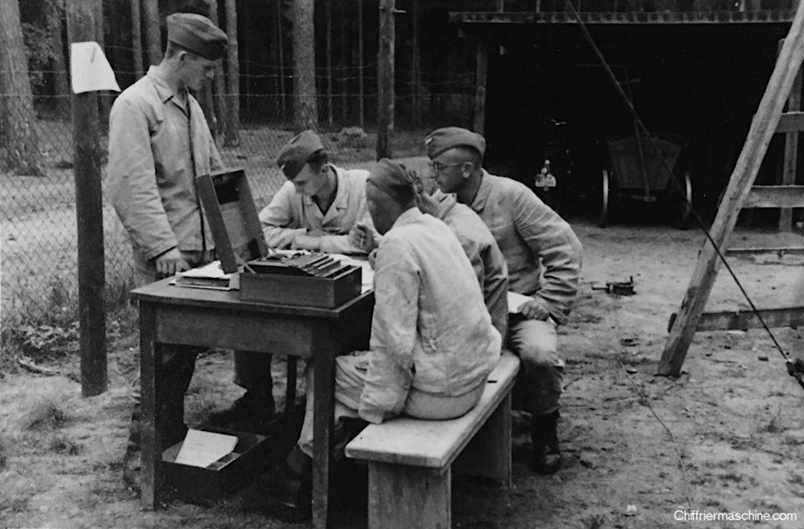 Photo of an Enigma machine in use.