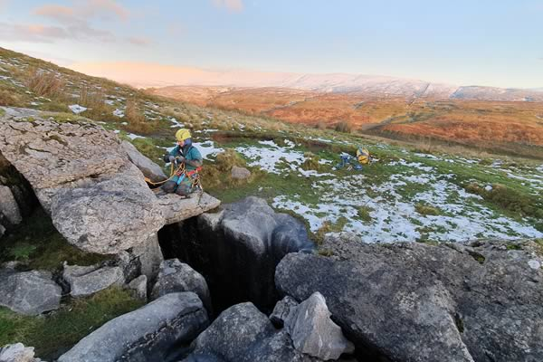 About to descend into Bull Pot, Kingsdale