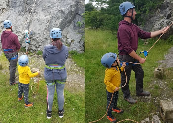 Learning to belay and climb at Storrs Quarry, Ingleton