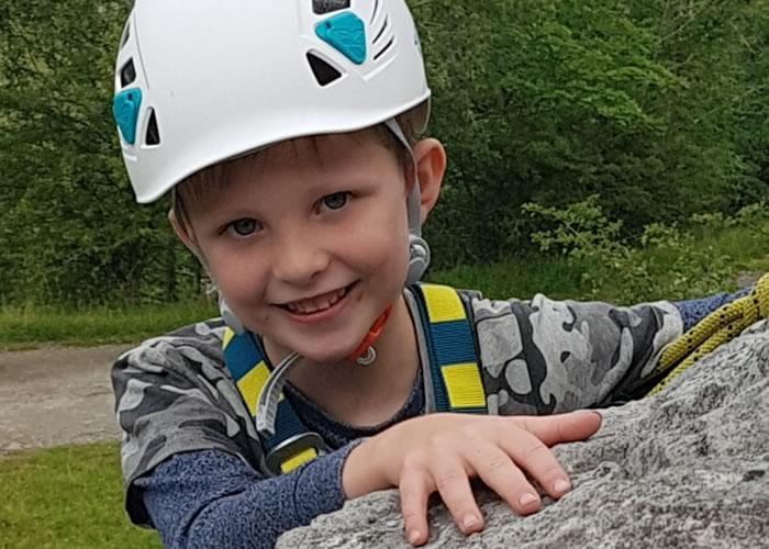 Enjoying some climbing at Storrs quarry, Ingleton