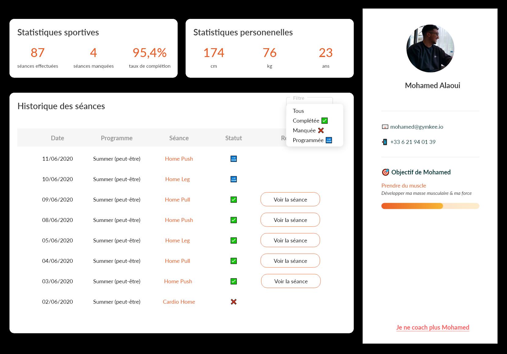 Profil et suivi client - Gymkee - Application pour coach sportif