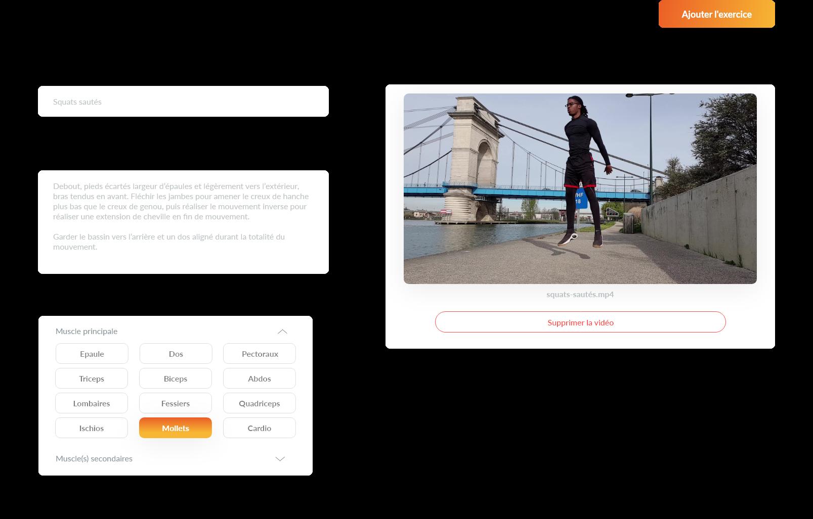 Mouvement exercices  vidéo Musculation - Gymkee - Application pour coach sportif