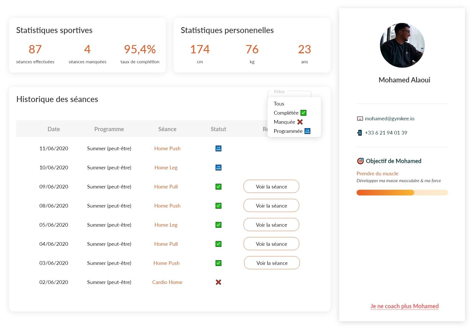 Profil Client - Gymkee - Application pour coach sportif