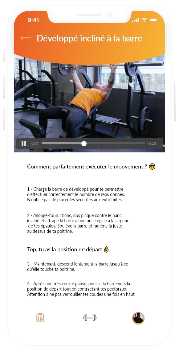 Mouvement exercices musculation - Gymkee - Application pour coach sportif