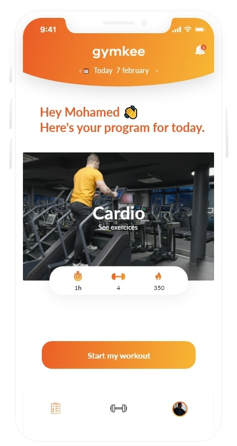 Personal training app - Gymkee
