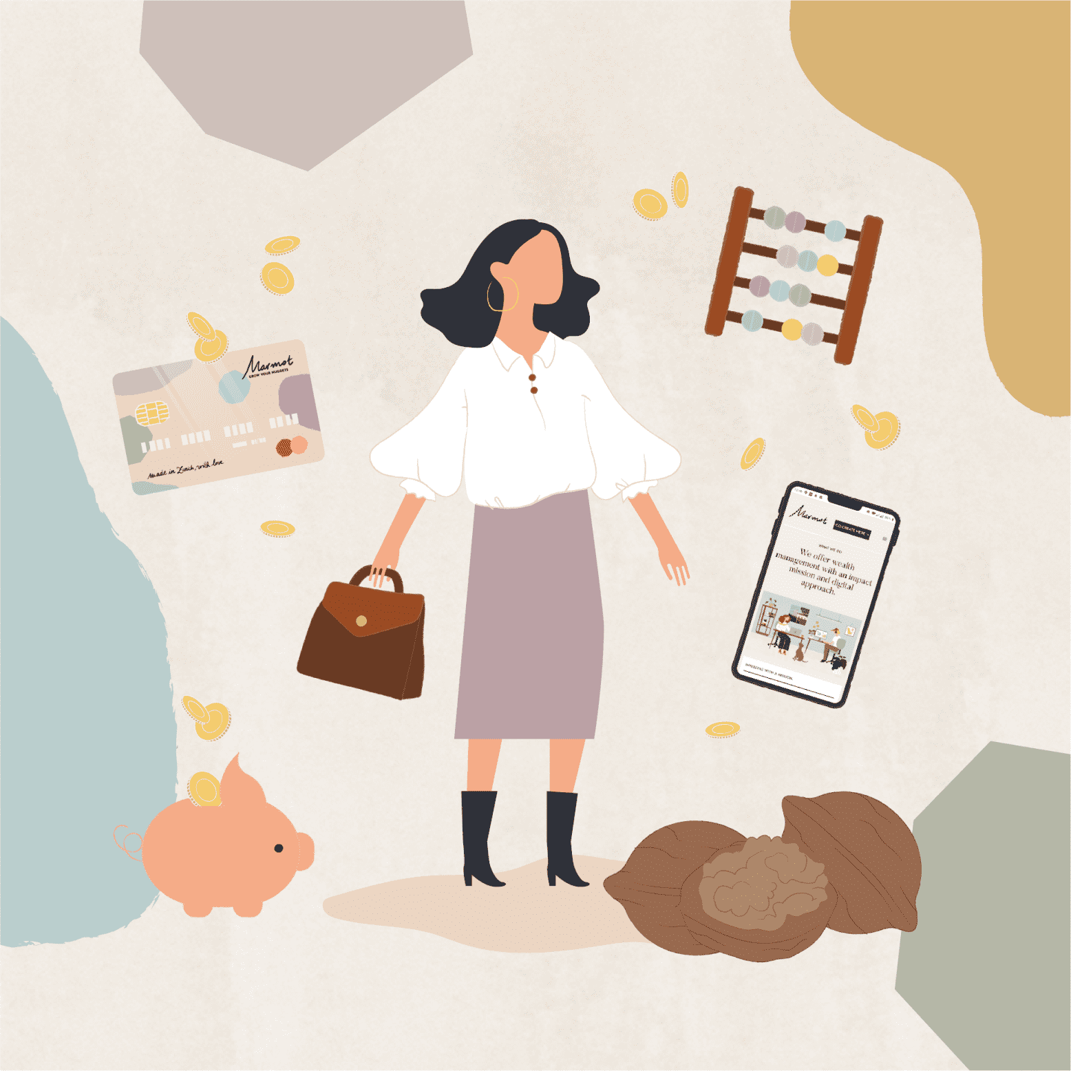 Illustration with busy women