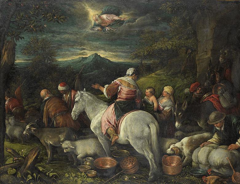 Abraham quitte Haran cheval forêt sombre exode Dieu Bassano Da Ponte