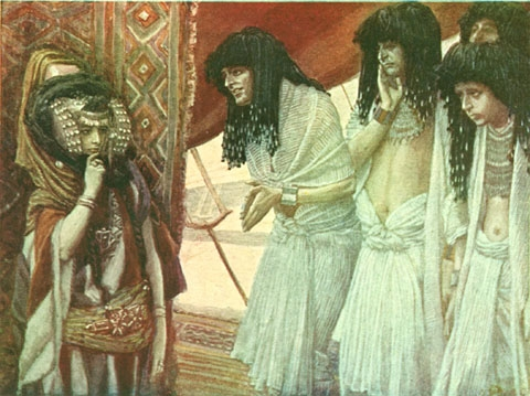 Egyptiens admirant beauté Sarah robe James Tissot