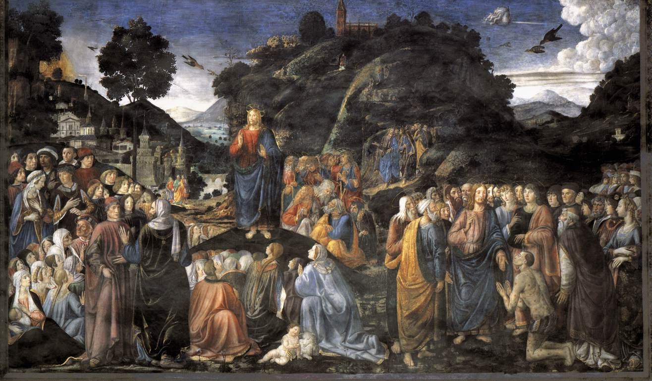 Sermon montagne discours foule Jésus disciples Cosimo Rosseli