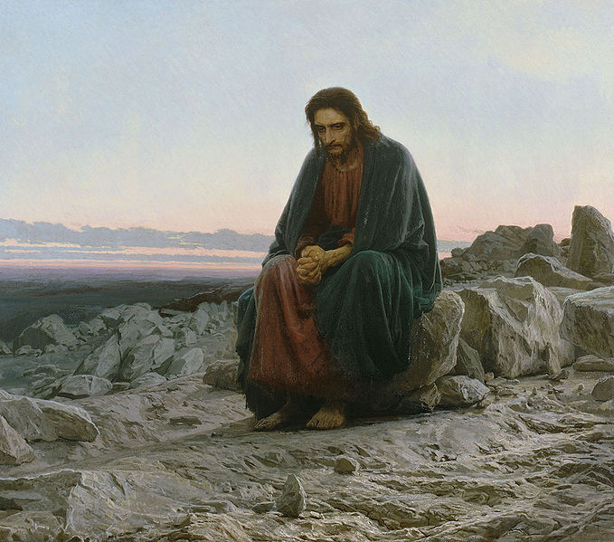 Christ désert seul souffrance tentation Satan assis Ivan Kramskoï