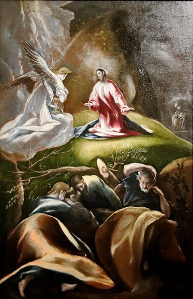 Agonie Jardin ange lutte mort souffrance apôtres drapé rouge Le Greco