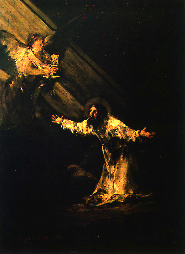 Christ Mont Oliviers ange rayon lumière poids Francisco Goya