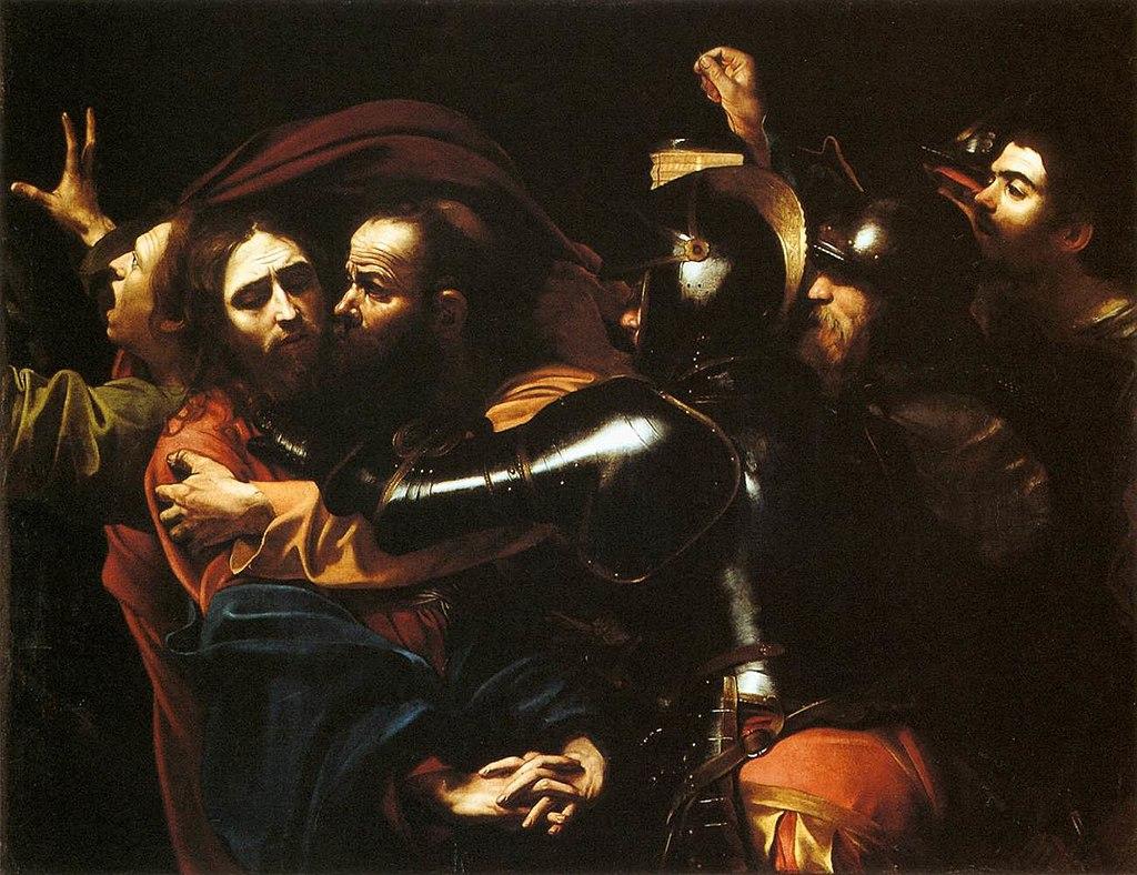 Arrestation Christ Judas embrasser soldats Le Caravage