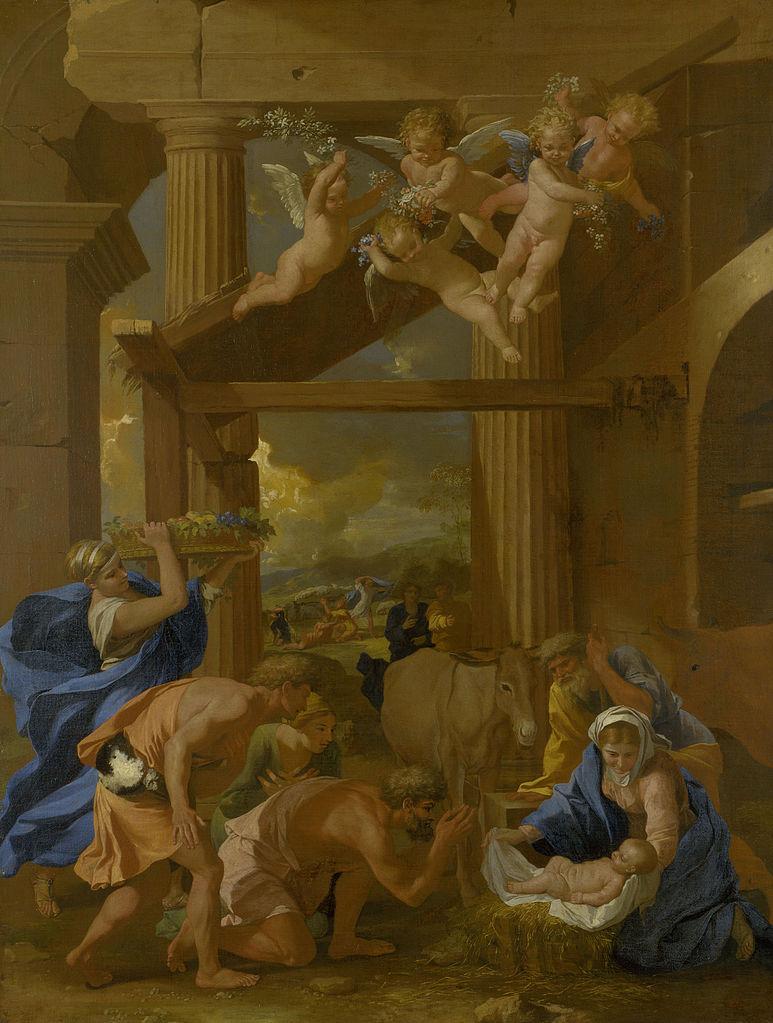 Adoration bergers naissance jésus Marie anges beige drapés Joseph Poussin