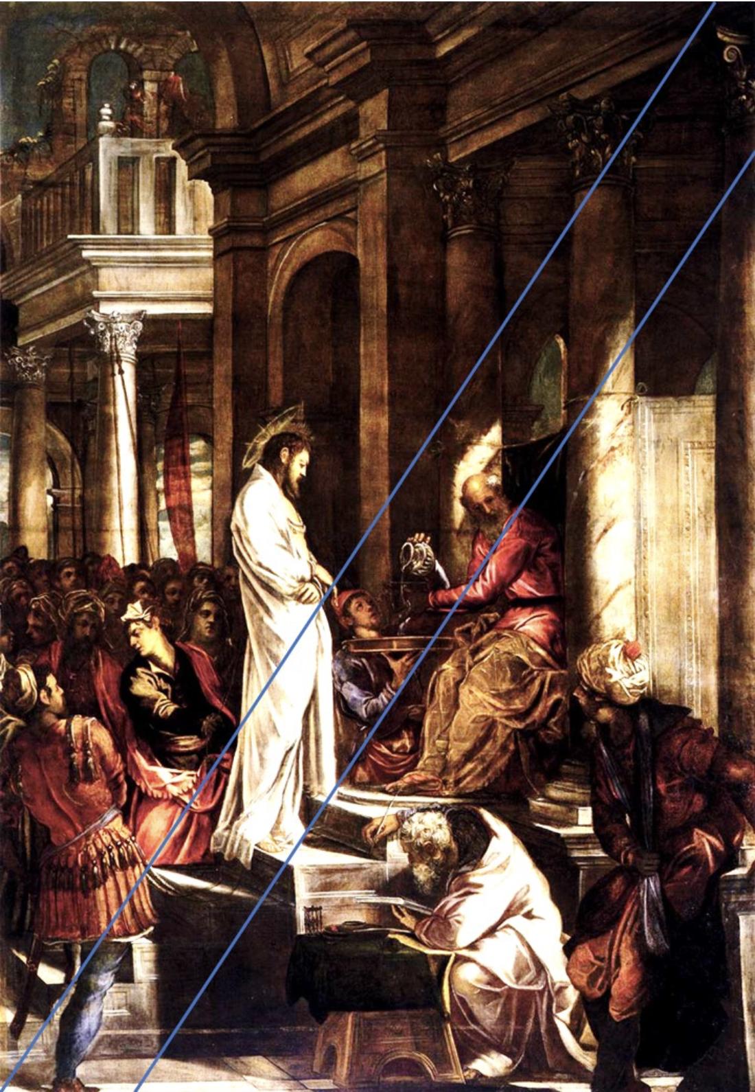 Christ Pilate marches regards drapé blanc procès Le Tintoret