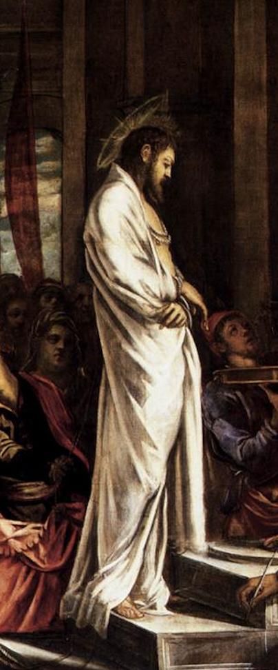 Christ seul debout manteau blanc sérénité Le Tintoret