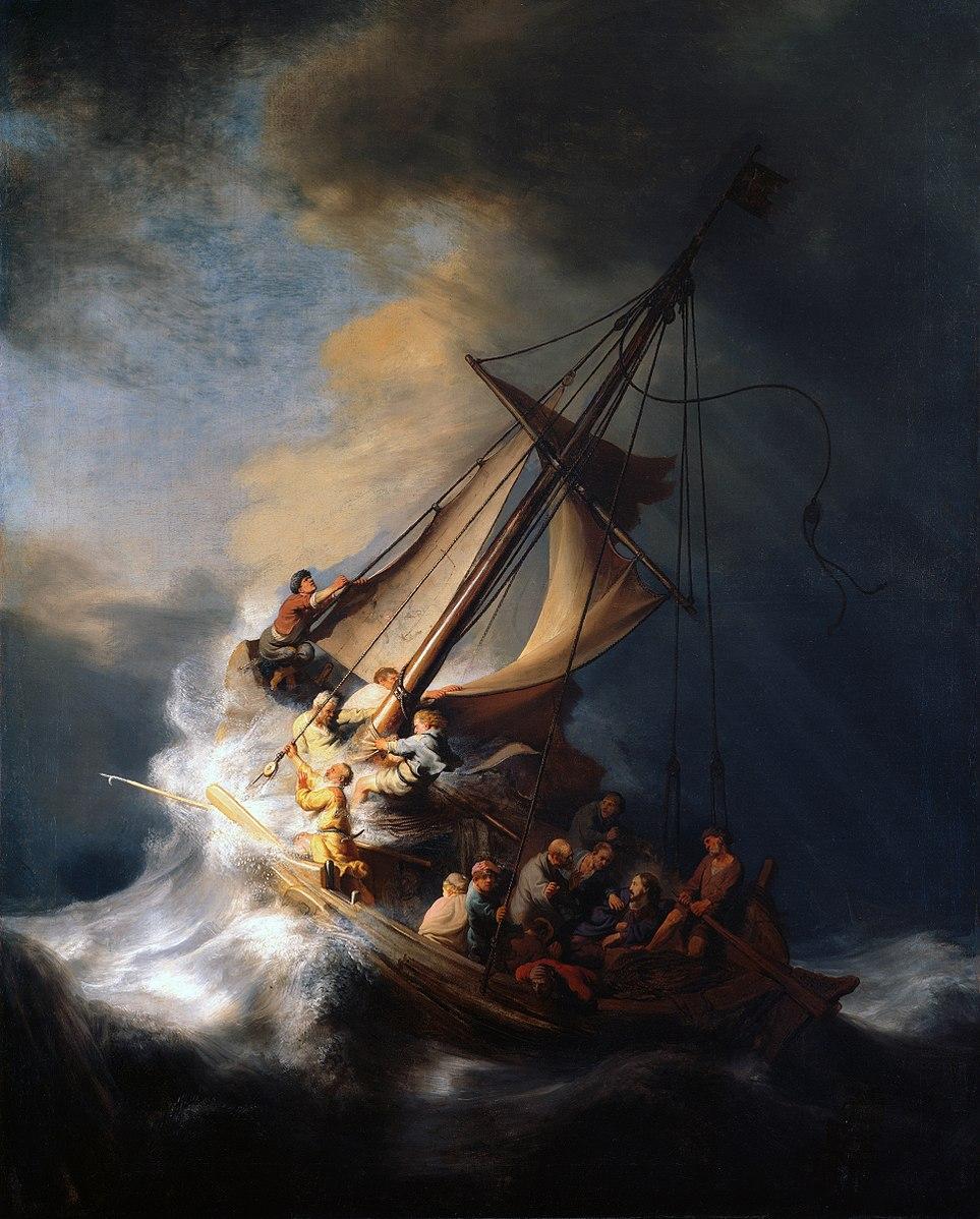 Christ tempête mer Galilée vague navire chavirer Rembrandt