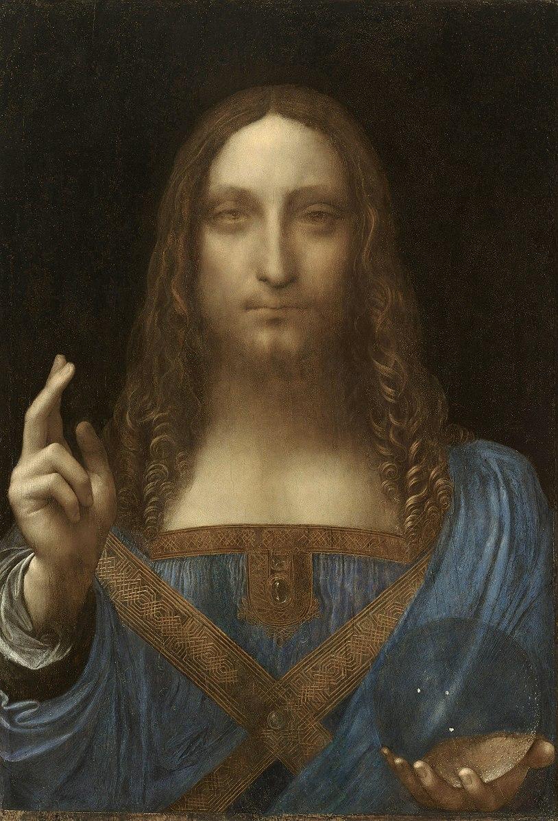 Jésus face cheveux long doigts bénédiction bleu Léonard de Vinci