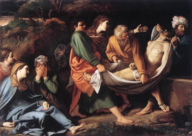 Enterrement Christ linge larme pleurs femmes tombeau Sisto Badalocchio