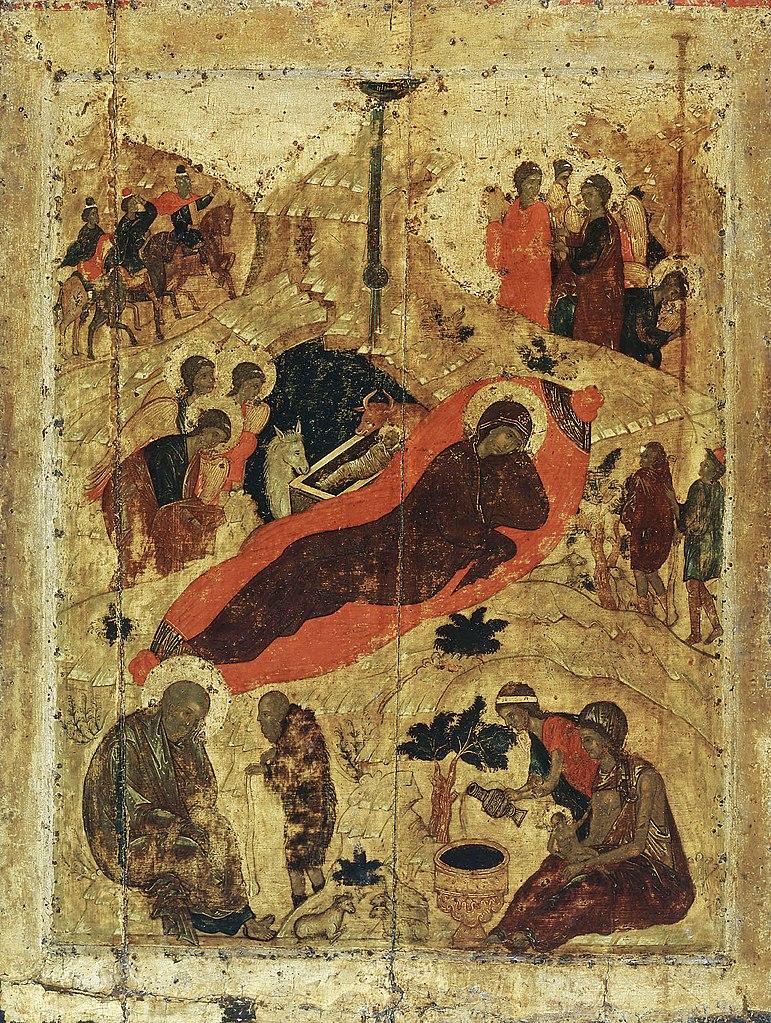Icône Nativité Jésus grotte langes naissance lumière