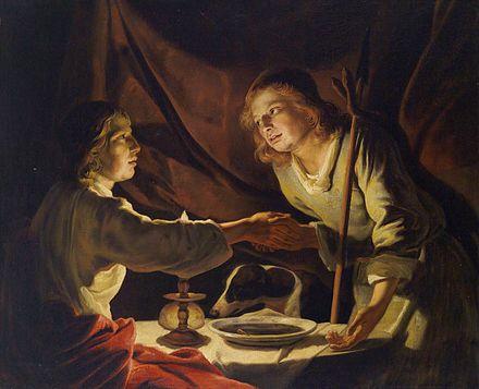 Esau vend droit de naissance plat lentille Jacob Matthias Stomer