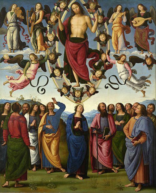 Ascension Christ montée ciel Vierge douze apôtres Le Pérugin