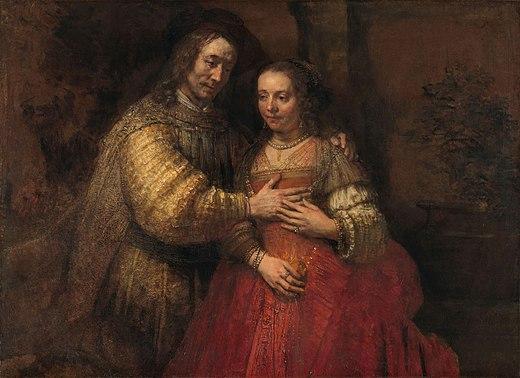 couple Isaac drapé robe rouge Rébecca Rembrandt