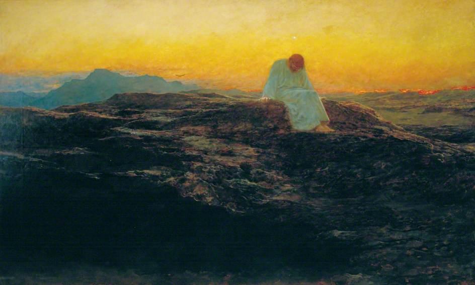 Christ désert ciel orange homme assis Briton Rivière